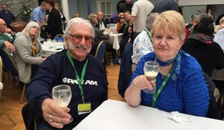 Myron(Rosie) and Anne Rosenstein celebrating with a real Irish Coffee!