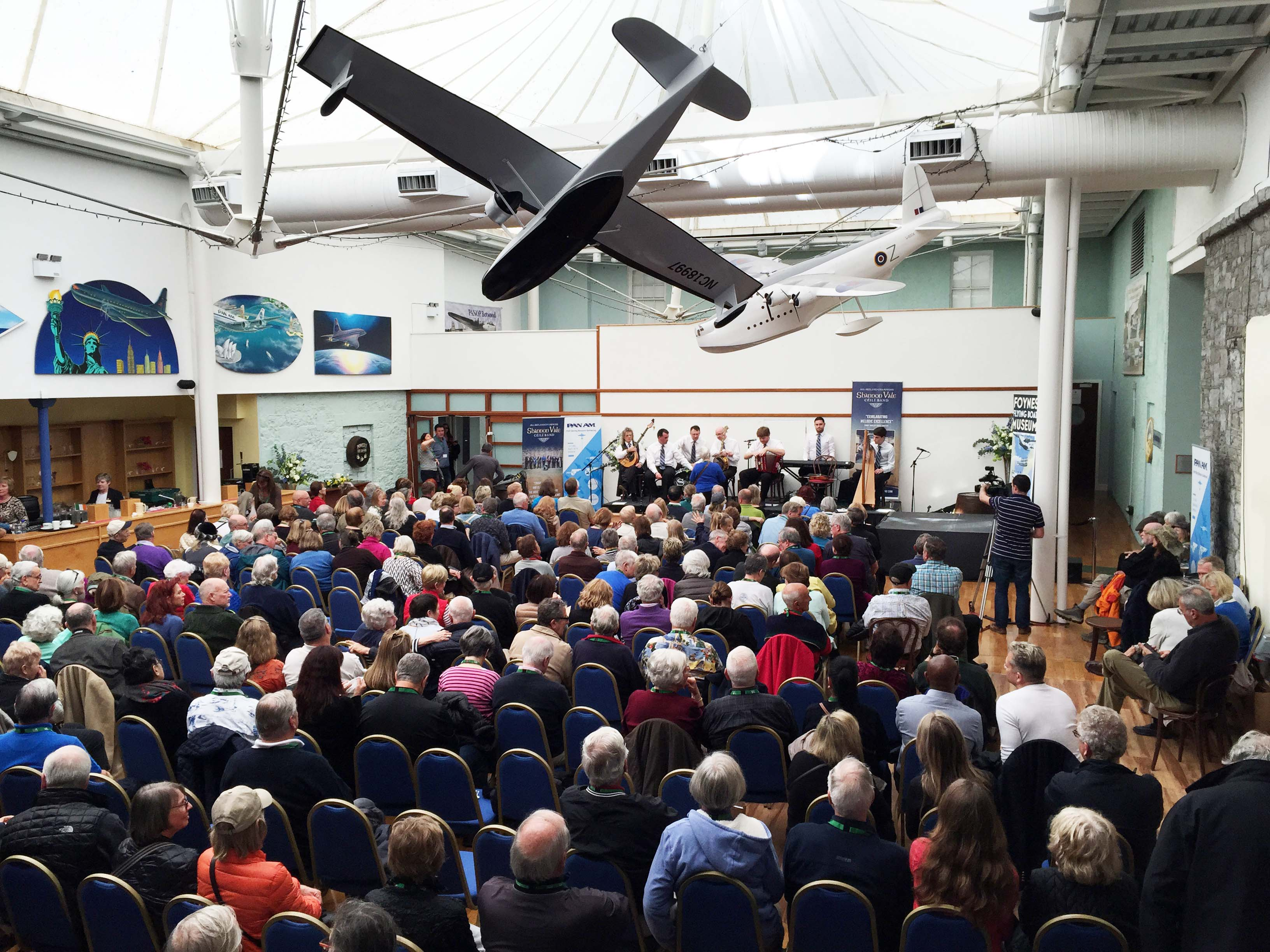 crowd at Foynes Museum listening to the Shannon Vale Ceili Band